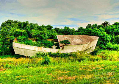 Photograph - Abandoned Boat Watercolor by Kathy Baccari