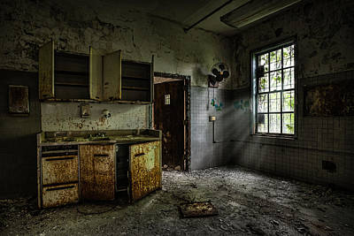 Art Print featuring the photograph Abandoned Building - Old Asylum - Open Cabinet Doors by Gary Heller