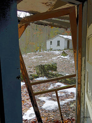 Photograph - Abandoned Cabin Elkmont Smoky Mountains - Screened Door Old House by Rebecca Korpita