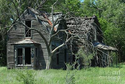 Photograph - Abandoned Country Kansas Farm House by Robert D  Brozek