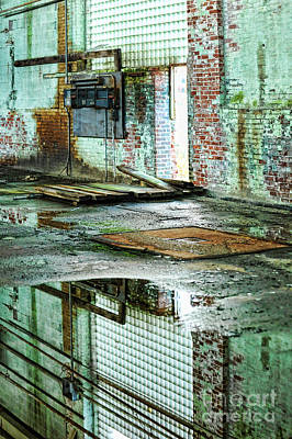 Glass Reflection Photograph - Abandoned Factory Interior by HD Connelly