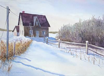 Drifting Snow Painting - Abandoned Farmhouse by Ian Nicholl