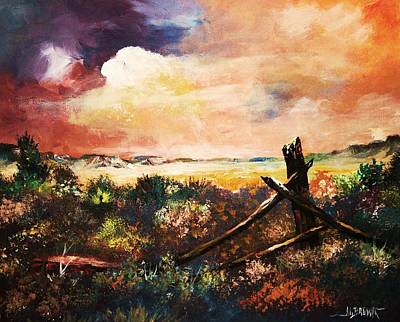 Art Print featuring the painting Abandoned Fence Post by Al Brown