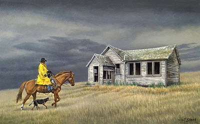 Horseman Painting - Abandoned Homestead-eastern Idaho by Paul Krapf
