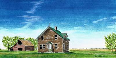 Wheat Painting - Abandoned Homestead Nd by David Wolfer