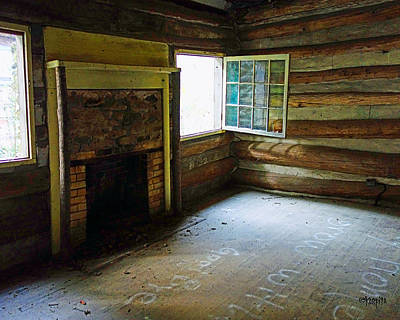 Photograph - Abandoned Log Cabin Elkmont Old House Window Fireplace by Rebecca Korpita