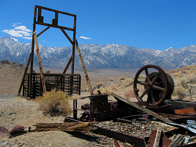 Abandoned Mine With View Of Eastern Sierras Art Print