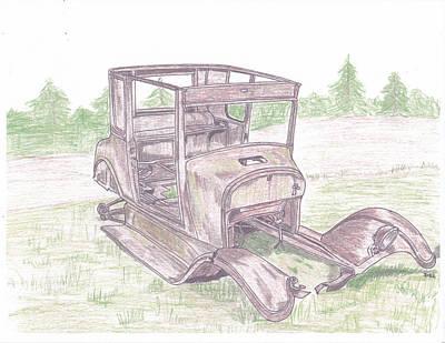 Street Rod Drawing - Abandoned Model A by Darrell Leonard