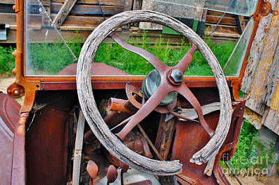 Abandoned Model T Wooden Steering Wheel Console Art Print by Janice Rae Pariza