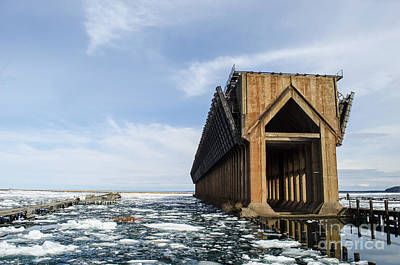 Photograph - Abandoned Ore Dock And Lake Superior Ice Floes Marquette by Deborah Smolinske