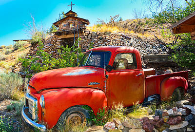 Abandoned Red Gmc Pickup Truck Original by Jeff Black