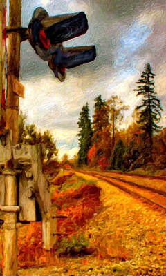 Digital Art - Abandoned Rr Crossing by Chuck Mountain