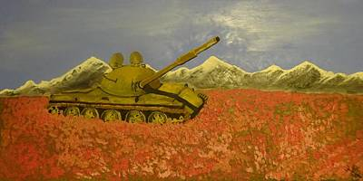 Abandoned Russian Tank In A Poppy Field Original by John Quigley