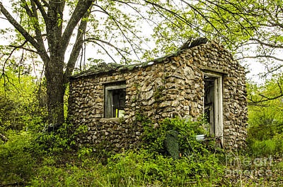 Photograph - Abandoned Stone Cottage Hazelgreen Missouri by Deborah Smolinske