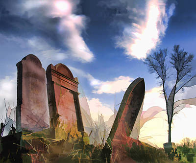 Headstones Painting - Abandoned Tombstones On The Prairie by Elaine Plesser
