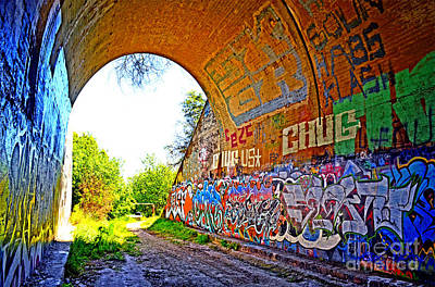 Photograph - Abandoned Train Tunnel South Of The Old Train Roundhouse At Bayshore Near San Francisco Altered by Jim Fitzpatrick