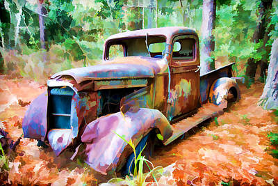 Photograph - Abandoned Truck Faux Painting by Bill Barber