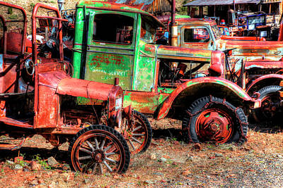 Old Pick-up Trucks Photograph - Abandoned Trucks, Jerome, Yavapai by Panoramic Images
