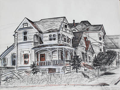 Drawing - Abandoned Victorian And Neighbors In Oakland California by Asha Carolyn Young
