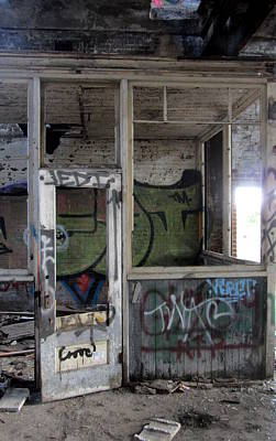 Photograph - Abandoned Warehouse Door 1 by Anita Burgermeister