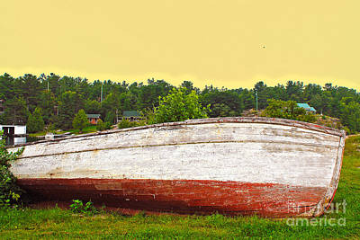Abandoned Wooden Fishing Boat At Sundown Art Print by Nina Silver