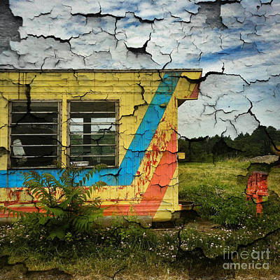 Primary Colors Digital Art - Abandoned Yellow Trailer by Amy Cicconi