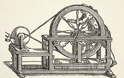 Physics Drawing - Abbe Nollets Electricity Machine, 1746 by French School