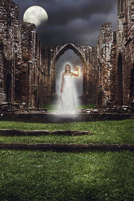 Moonlit Photograph - Abbey Ghost by Amanda Elwell