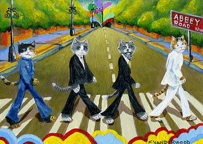 Abbey Road Cats Art Print by Jacquelin Vanderwood
