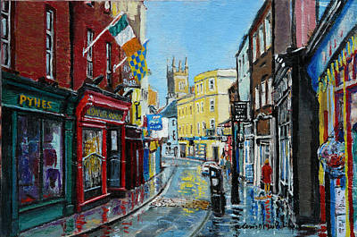Enzos Barber Shop Painting - Abbey Street Ennis Co Clare Ireland by Tomas OMaoldomhnaigh