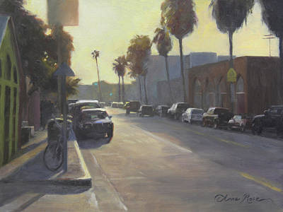 Santa Monica Painting - Abbot Kinney Sunset by Anna Rose Bain