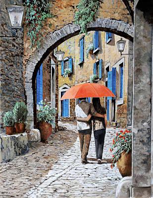 Street Scene Painting - Abbracciati Sotto L'arco by Guido Borelli