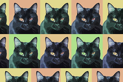 Digital Art - Abby Cat Pop Art by Susan Stone