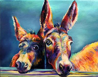 Mule Painting - Abbys Donkeys by Robert Pankey