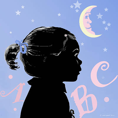 Man In The Moon Digital Art - Abc - The Moon And Me by Carol Jacobs