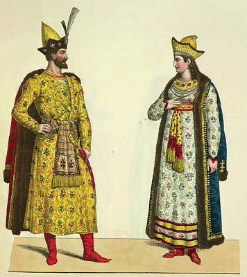 Silver And Gold Color Photograph - Abdallah And His Wife by British Library