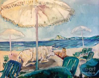 Sunshade Painting - Abduction Of Europa By Zeus At La Ciotat by Chris Irwin Walker