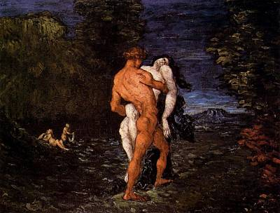 Cambridge University Painting - Abduction by Paul Cezanne