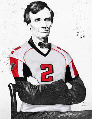 Lincoln Drawings Digital Art - Abe Lincoln In A Matt Ryan Atlanta Falcons Jersey by Roly Orihuela