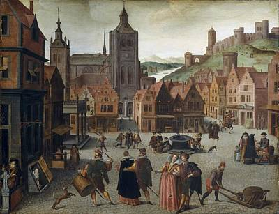 Op Painting - Abel Grimmer The Marketplace In Bergen Op Zoom Probably 1590 And 1597 by MotionAge Designs