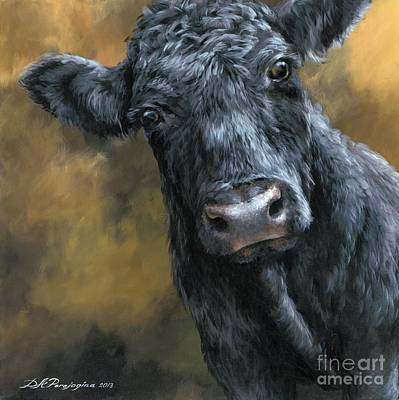 Scottish Dog Painting - Aberdeen Angus Calf by Dina Perejogina