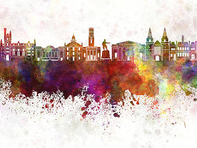 Scotland Painting - Aberdeen Skyline In Watercolor Background by Pablo Romero