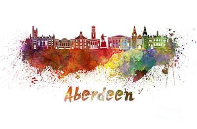 Scotland Painting - Aberdeen Skyline In Watercolor by Pablo Romero