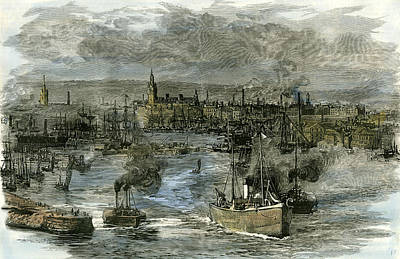 Dock Drawing - Aberdeen Victoria Docks The Port 1885 Uk by English School