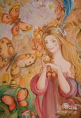 Abigail In The Golden Forest Art Print by Ottilia Zakany