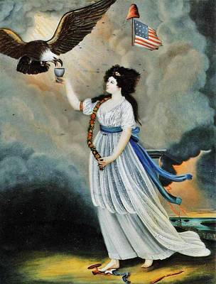 Giving Painting - Abijah Canfield Liberty In The Form Of The Goddess Of Youth Giving Support To The Bald Eagle 1800 No by MotionAge Designs