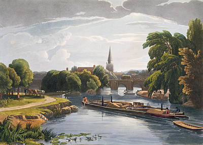 Abingdon Bridge And Church, Engraved Art Print by William Havell