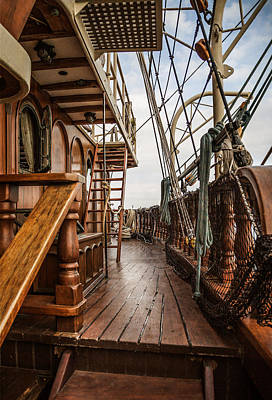 Historic Schooner Photograph - Aboard The Tall Ship Peacemaker by Dale Kincaid