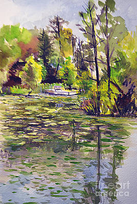 Lilly Pond Painting - Aboretum Light by Allison Ashton