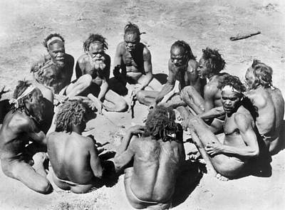 Indigenous Culture Photograph - Aborigine Elder Council by Underwood Archives
